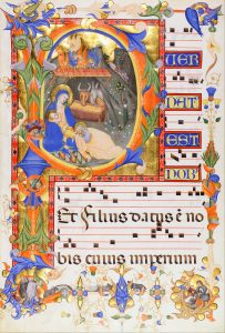 Don_Silvestro_dei_Gherarducci_-_Nativity,_in_an_initial_P_-_Google_Art_Project